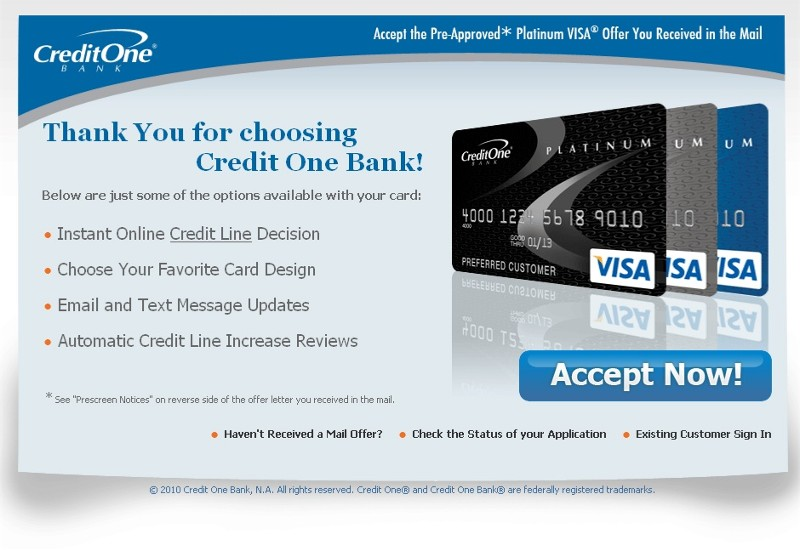 Credit One Pre Approval >> Www Yescreditone Com Firstcredit Net